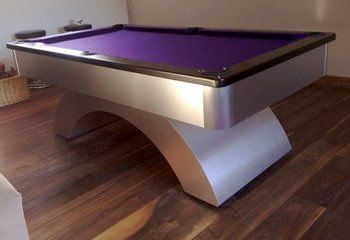 Contemporary Pool Table With Purple Cloth
